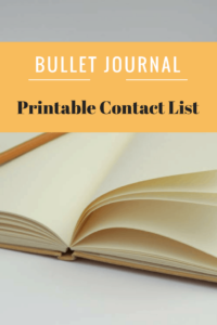 Bullet Journal-Contact Printable
