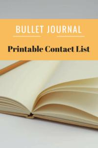 Bullet Journal-Contact Printable