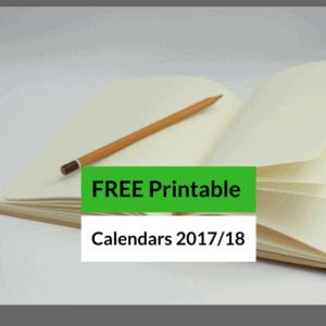 Free Printable Bullet Journal Calendars (October 2017-September 2018)