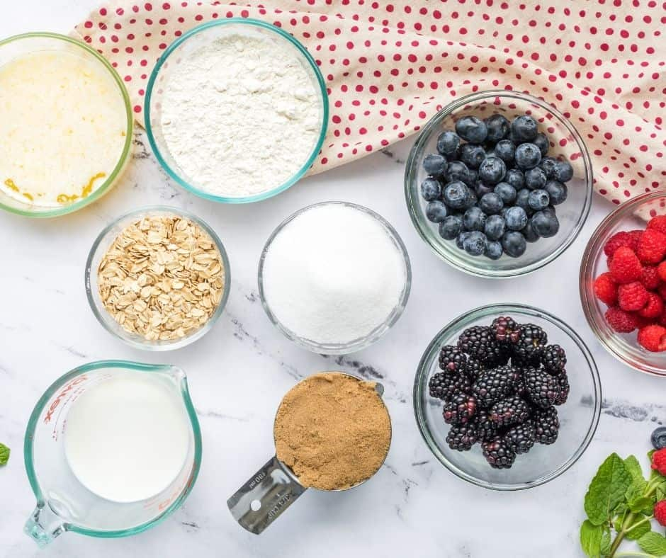Ingredients Needed To Make An Air Fryer Triple Berry Cobbler