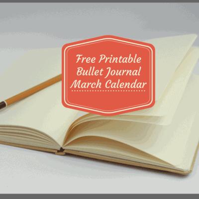 Bullet Journal-FREE March 2018 Printable Calendar