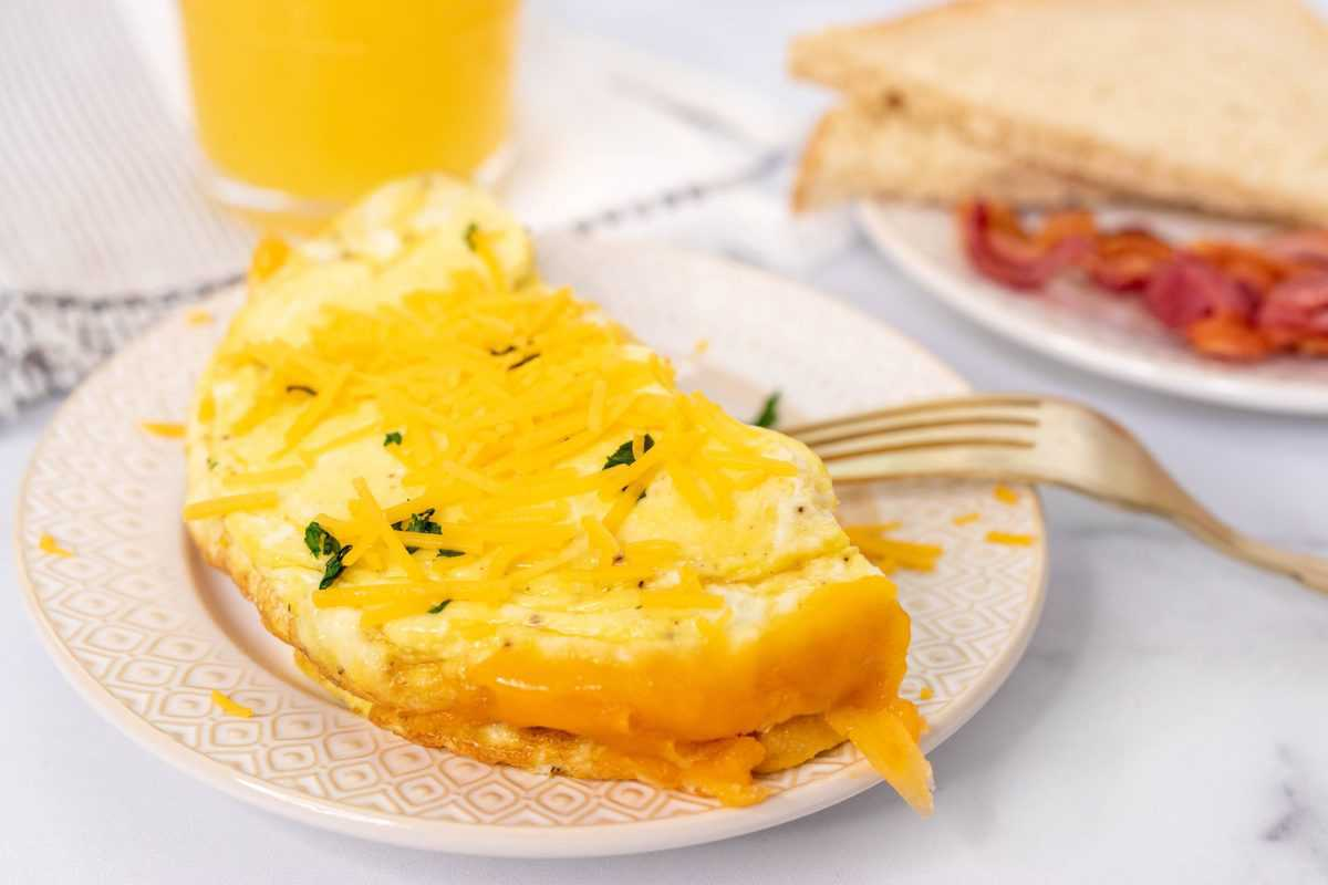 Air Fryer Cheese Omelet on Plate