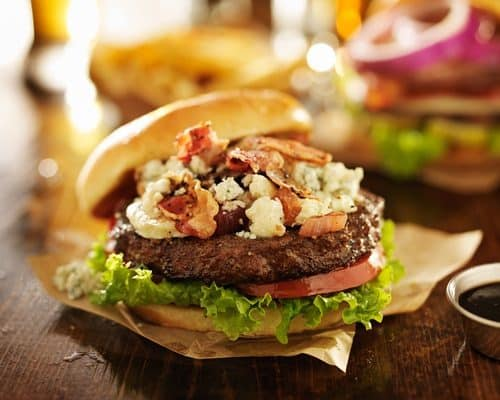 Air Fryer-Gourmet Blue Cheese Burgers