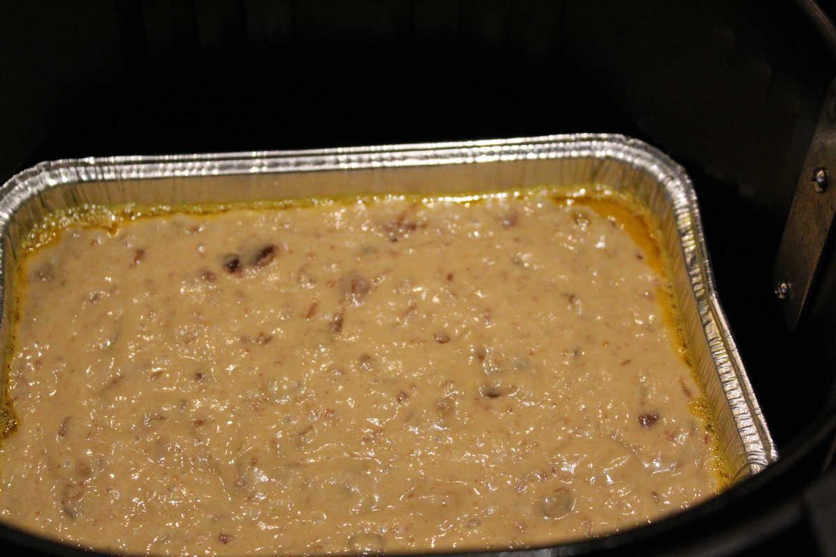 Bread in pan in air fryer-date and walnut bread
