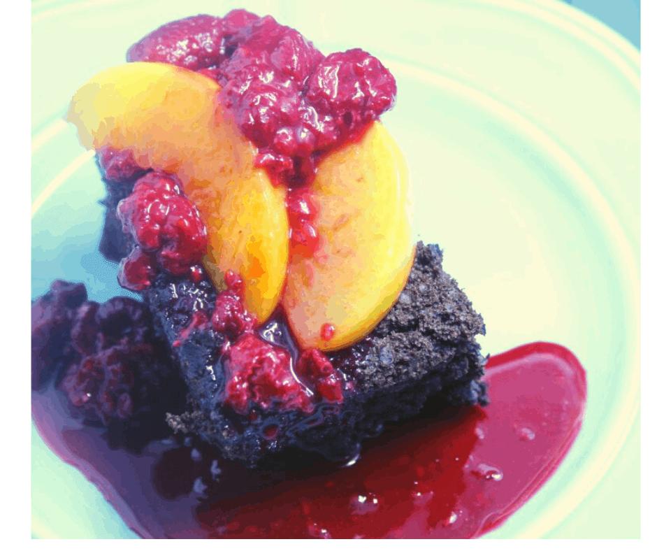 Air Fryer Peach Melba Chocolate Cake