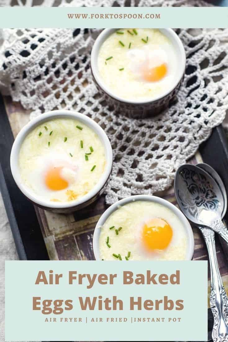 Air Fryer Baked Eggs With Herbs