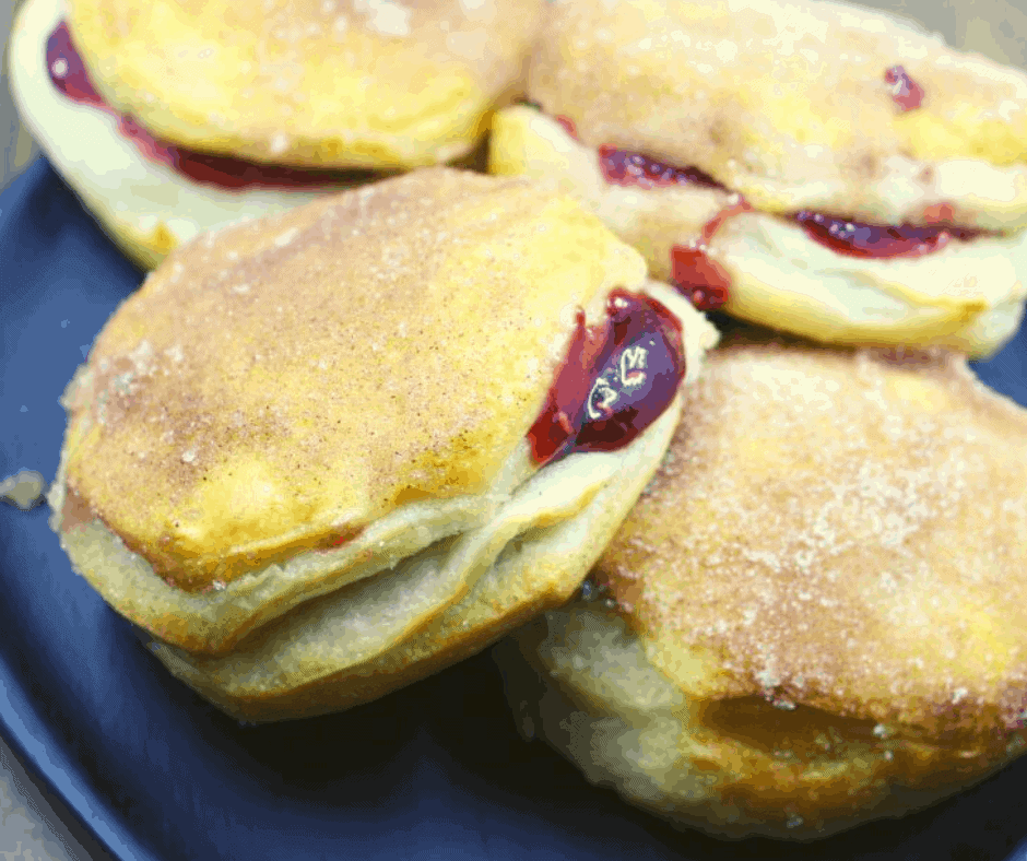 Air Fryer Raspberry Filled Jelly Donuts