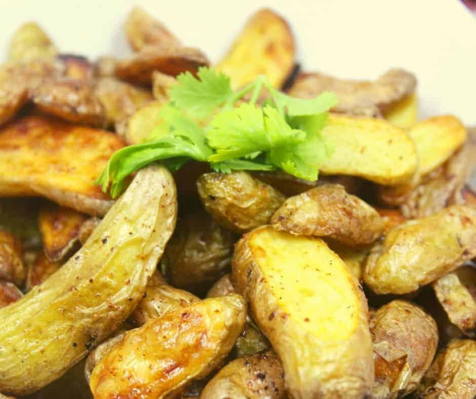 Air Fryer Garlic Butter Roasted Fingerling Potatoes