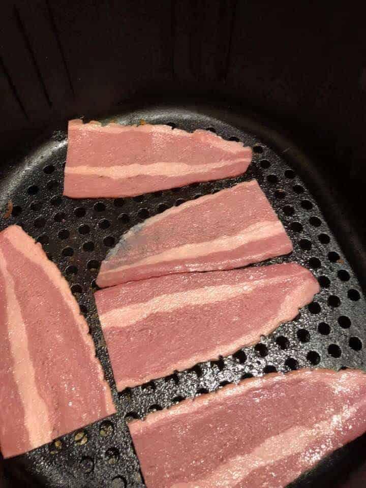Turkey Bacon in Air Fryer Basket