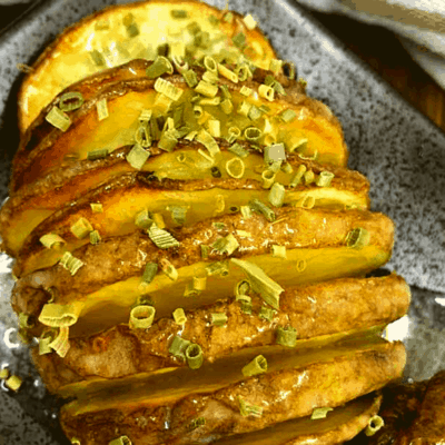 Air Fryer, Crispy Hasselback Potatoes with Rosemary and Garlic