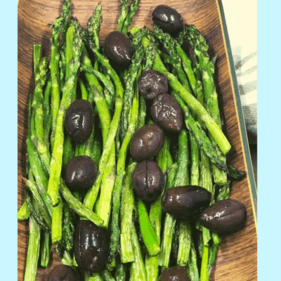 Air Fryer, Air Fried Roasted Asparagus With Olives