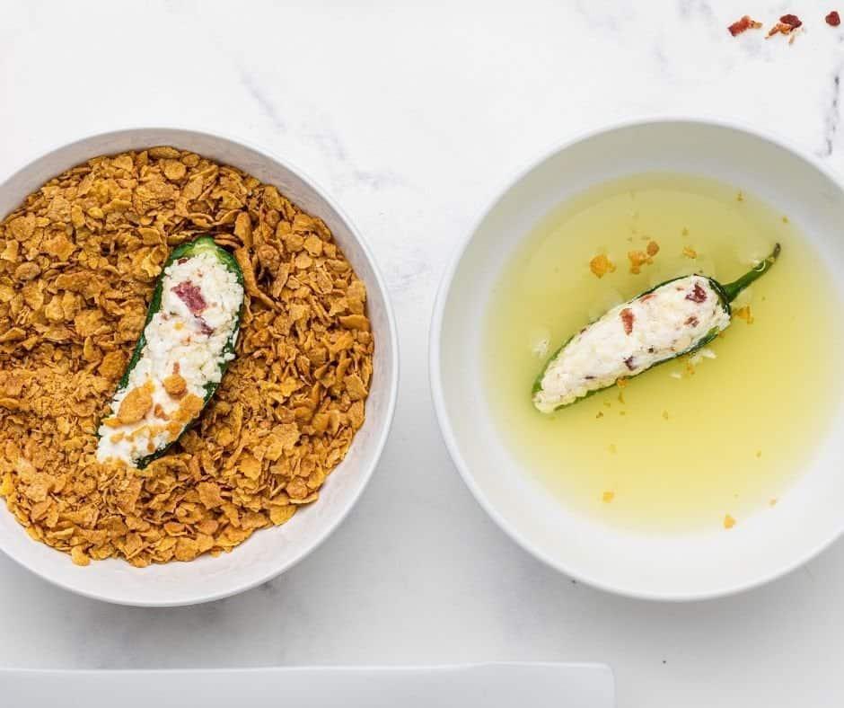 Egg White and Cornflake Crumbs in Bowl