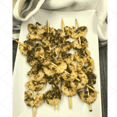 Air Fryer, Basil Pesto Shrimp Kebobs