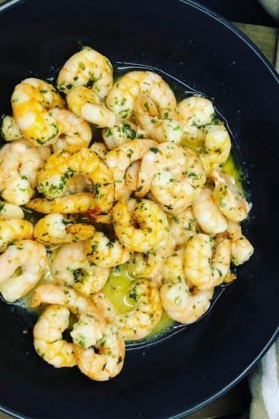 Air Fryer, Garlic Butter Shrimp Scampi