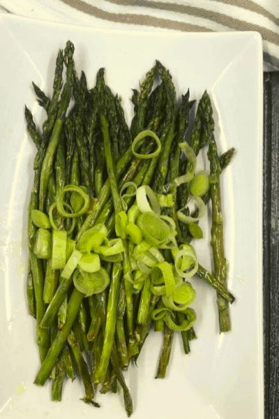 Air Fryer Easy Grilled Roasted Leeks and Asparagus