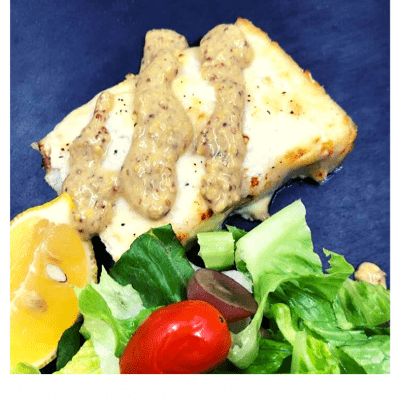 Air Fryer, Grilled Cod With Creamy Mustard Sauce