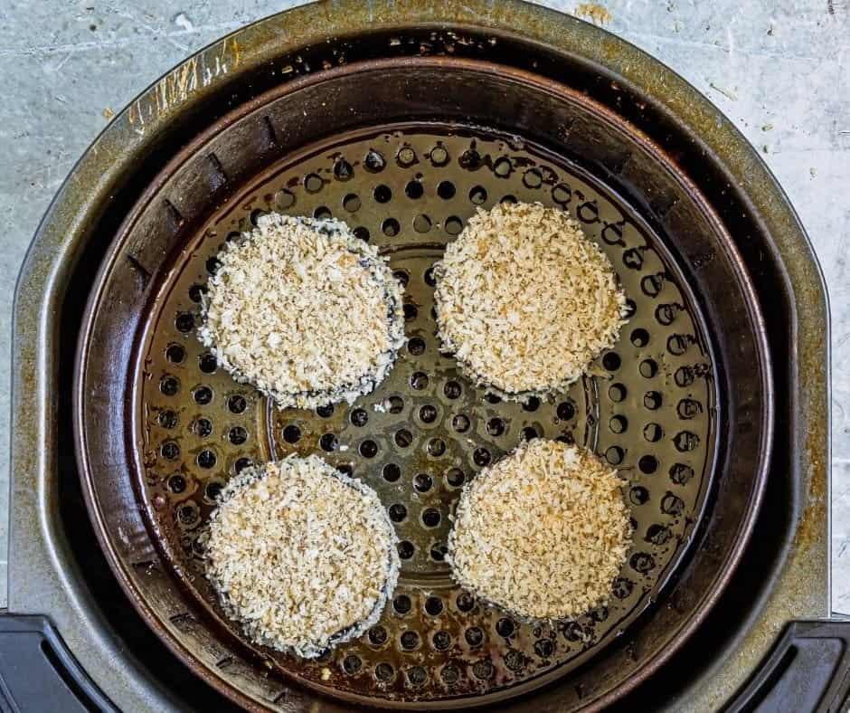 Breaded Eggplant in Air Fryer Basket