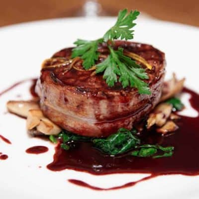 Air Fryer, Beef Tenderloin Steak Wrapped With Bacon
