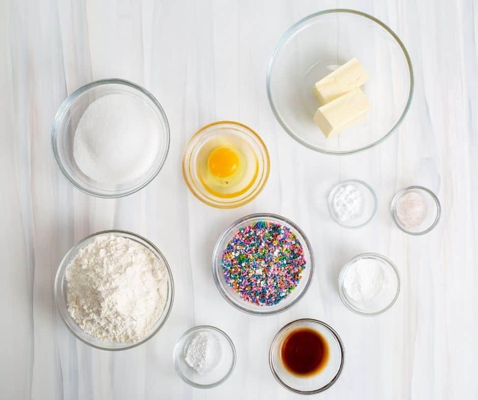 Air Fryer Confetti Cookie Ingredients