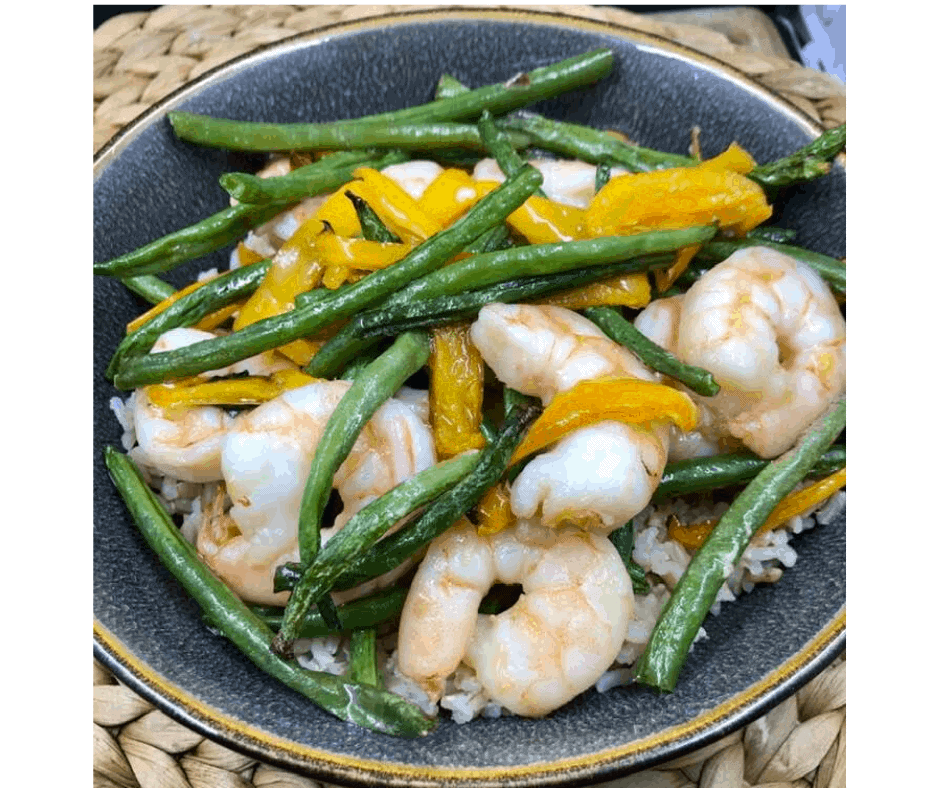 Air Fryer, Thai Basil Shrimp Stir-Fry
