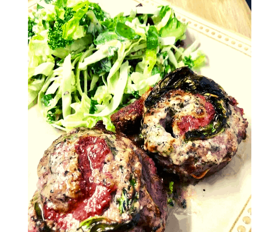 Air Fryer, Garlic Herb Butter and Spinach Beef Pinwheel Steaks (KETO Friendly)