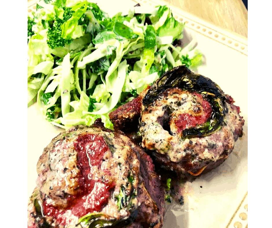 Air Fryer, Garlic Herb Butter and Spinach Beef Pinwheel Steaks (KETO Friendly)
