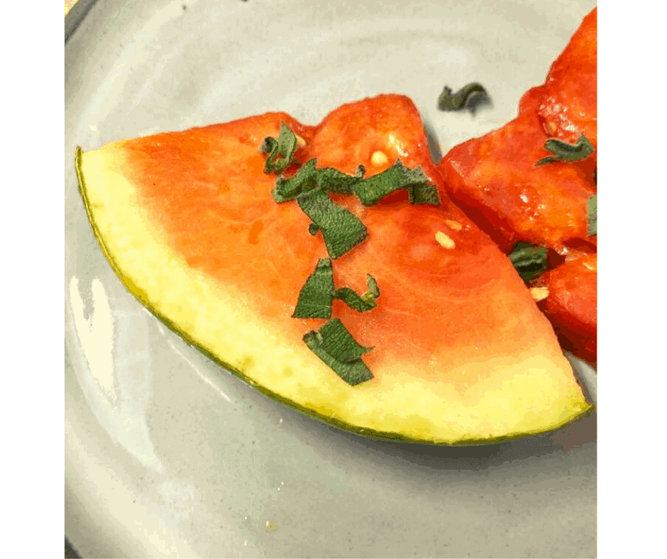 Air Fryer, Grilled Watermelon with Lime and Mint