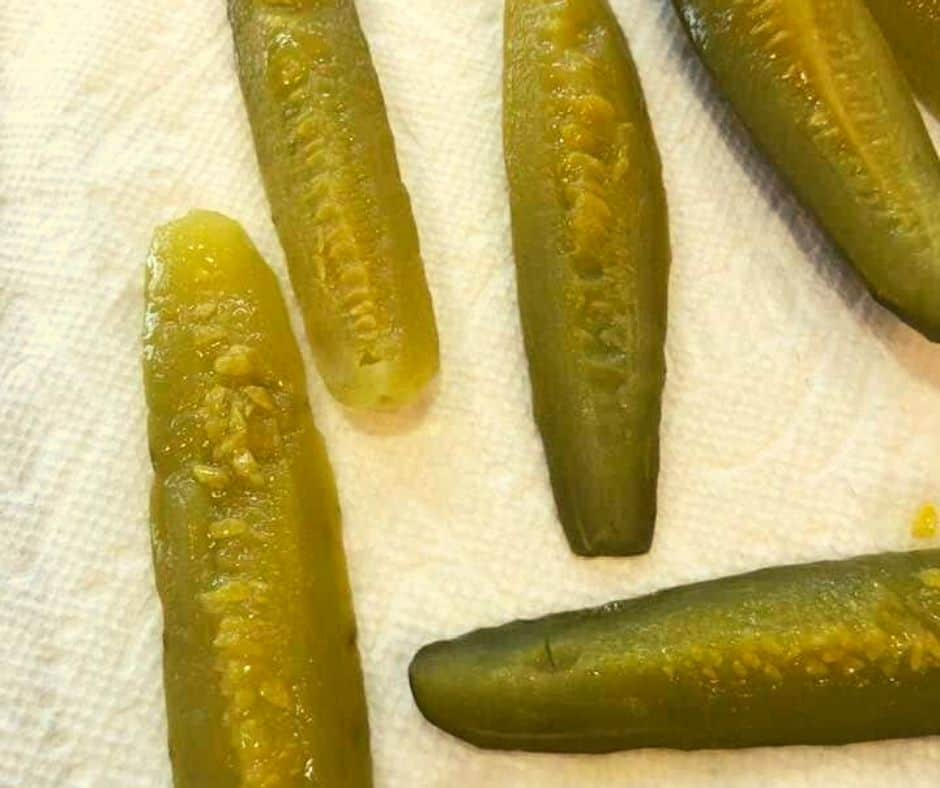 Pickles Drying on Paper Towel-Close Up
