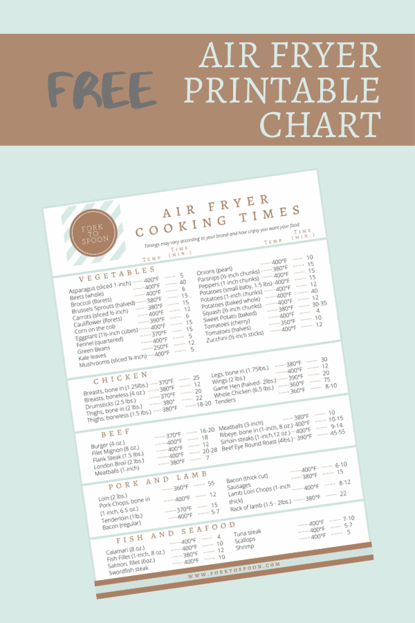 Free Printable Air Fryer Cooking Chart