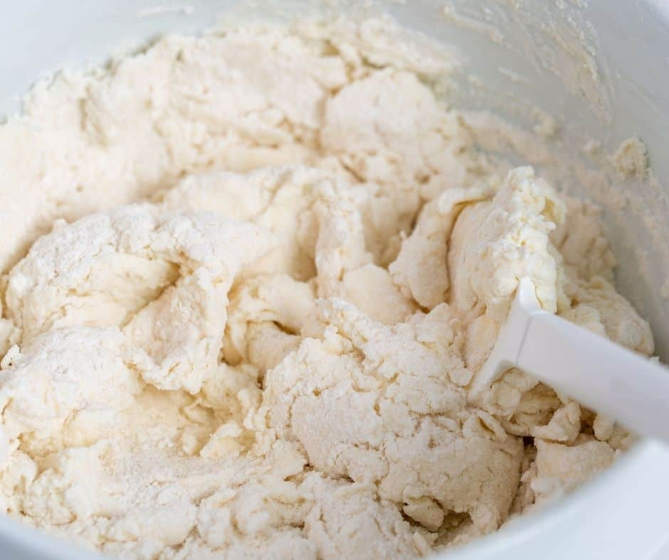Mixing Dough For 2 Ingredient Bagels, Weight Watcher In Bowl