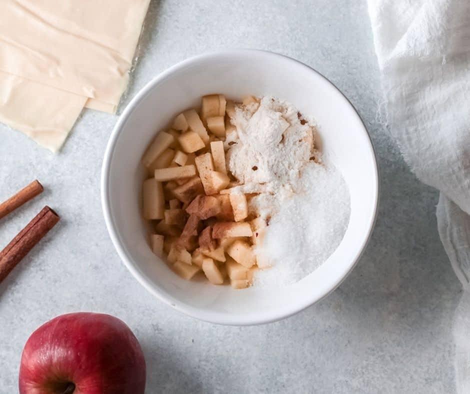 Mix Apple Pie ingredients in bowl