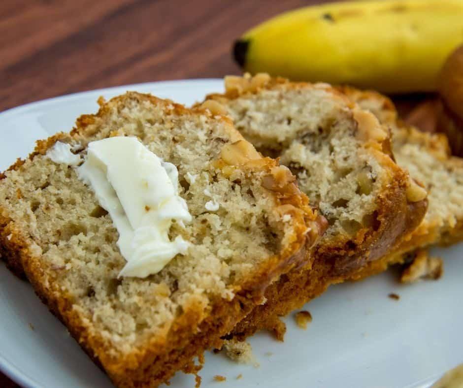 Air Fryer Banana Walnut pound Cake On Plate