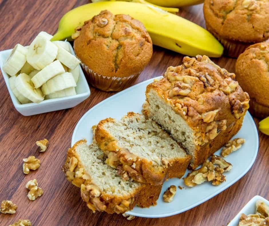 Air Fryer Banana Walnut Pound Cake