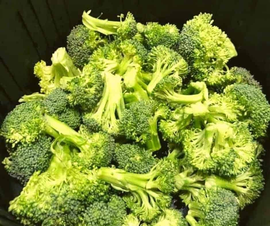 Broccoli in Air Fryer Basket