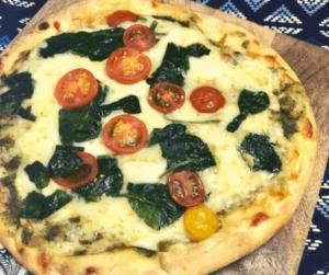 Air Fryer Pesto & Spinach Naan Pizza