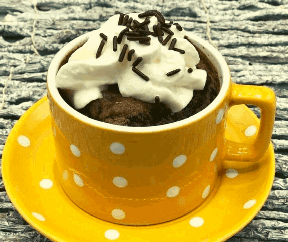 Air Fryer Chocolate Cake Mix Mug Cake Fork To Spoon