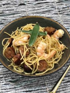Air Fryer Chorizo and Shrimp Pasta