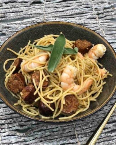 Air Fryer Chorizo and Shrimp Pasta