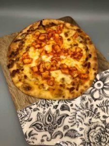 Air Fryer Naan Buffalo Chicken Pizza