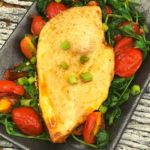 Air Fryer Chicken With Roasted Arugula And Tomatoes