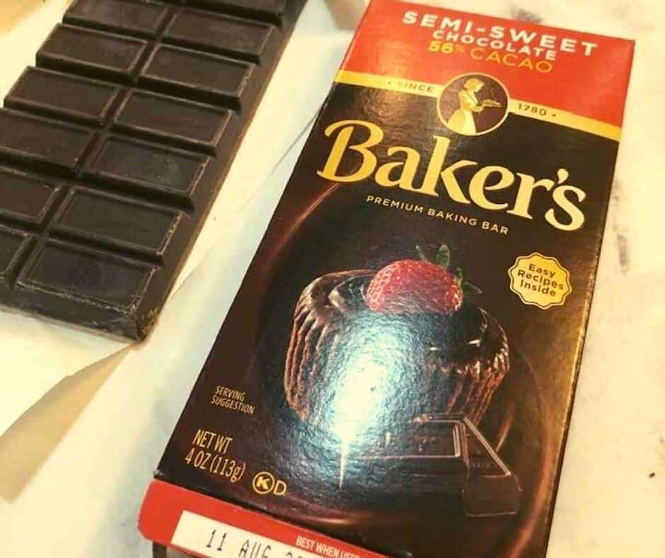 The chocolate used in this recipe, bittersweet.
