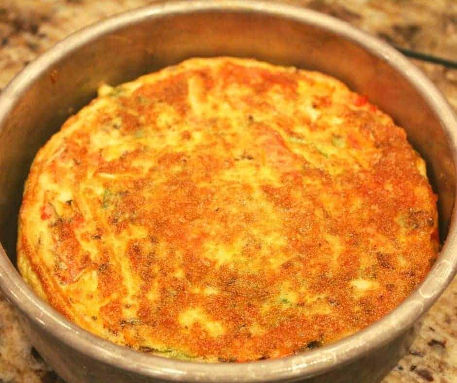 Cooked Ingredients In Easy Air Fryer Breakfast Frittata