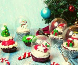 Air Fryer Christmas Red Velvet Snow Globe Cupcakes
