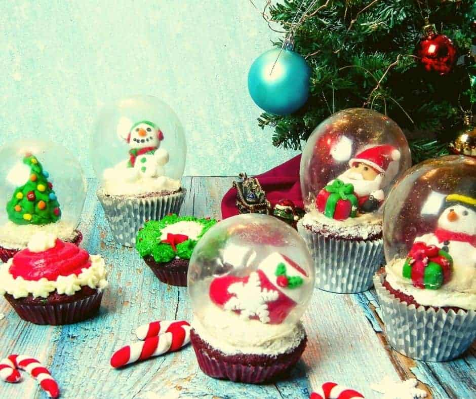 Air Fryer Christmas Red Velvet Snow Globe Cupcakes