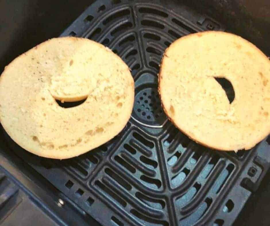 Bagel in Air Fryer Basket