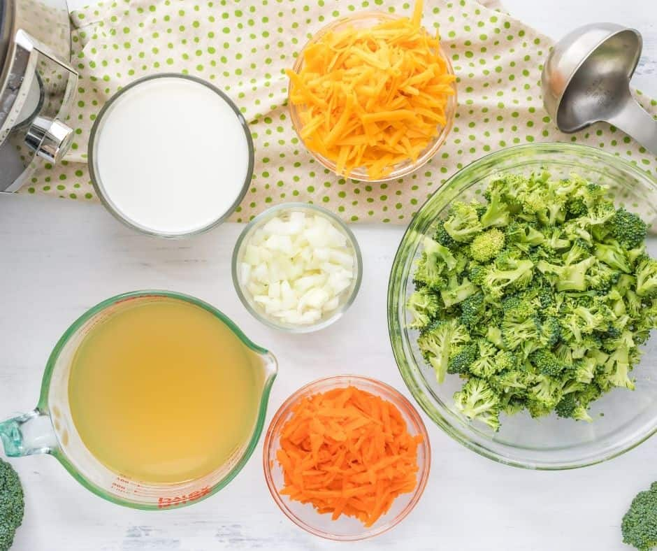 Ingredients For Instant Pot Broccoli and Cheddar Cheese Soup