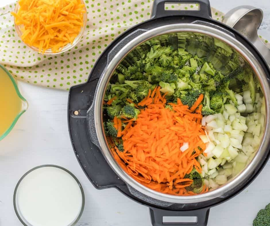 Add Broccoli, Carrots and Onions in Instant pot