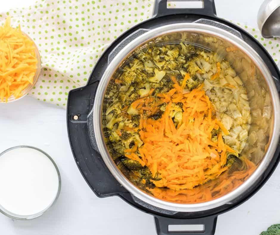 Instant pot Cheddar Broccoli Soup after pressure cooking