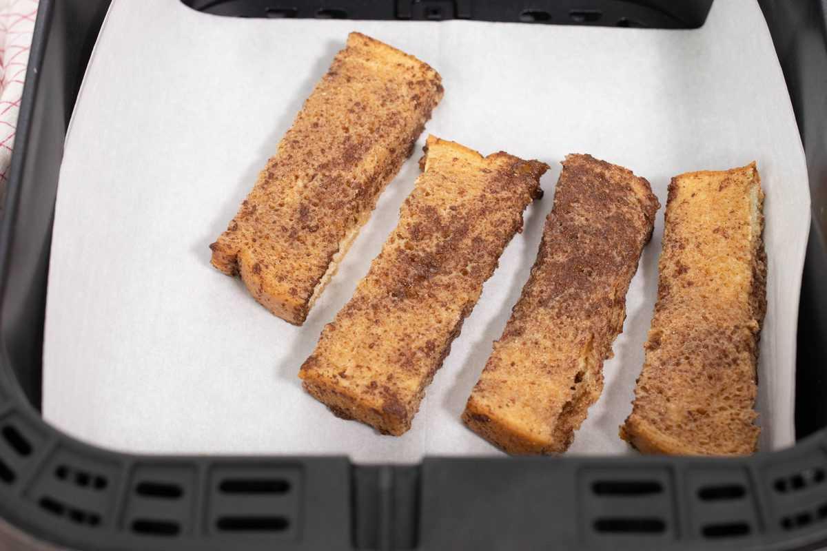 French Toast Sticks in Air Fryer Basket
