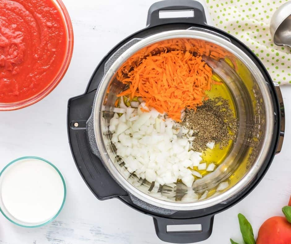 Ingredients for Instant Pot Basil Soup in Bowl